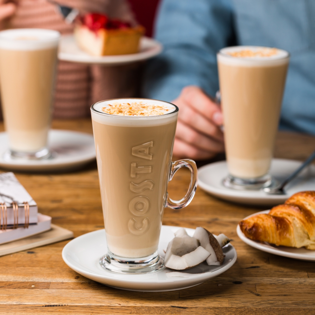 coffee, costa coffee, coconut, croissant, cake,