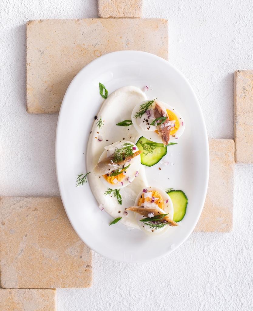 eggs, cucumber, mackerel, easter, herbs