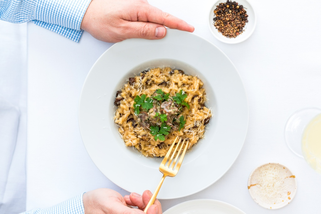 risotto, parsley, mushrooms, pepper, salt,