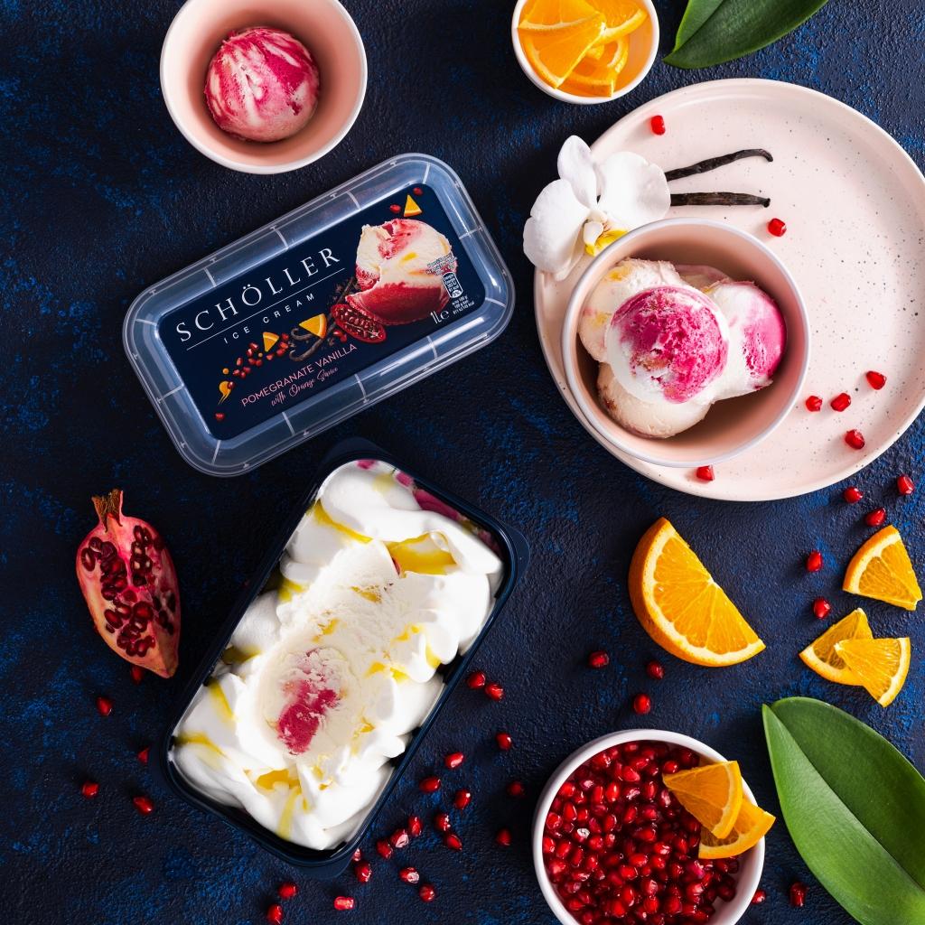 pomegranate, ice cream, vanilla, orange, sorbet