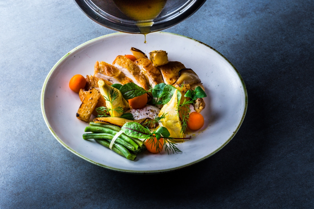 green beens, chicken, carrot, sauce, bonduelle,