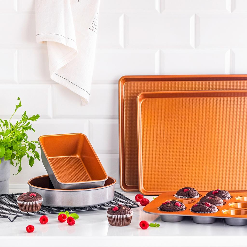 copper pans pots baking set photography